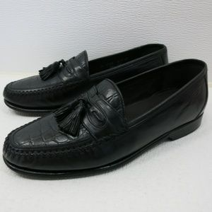 Johnston & Murphy Croco Print Leather Moc Loafers